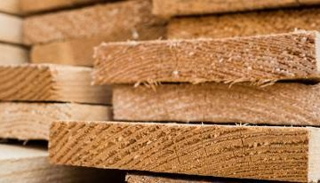 Wooden boards fresh from the sawmill